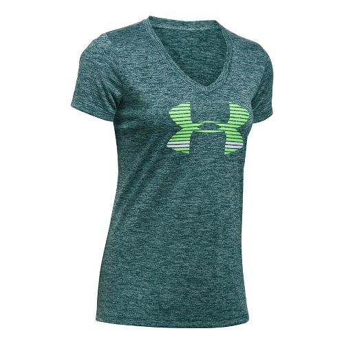 Womens Under Armour Tech V Neck-Graphic Short Sleeve Technical Tops - Grey/Lapis Blue XXL