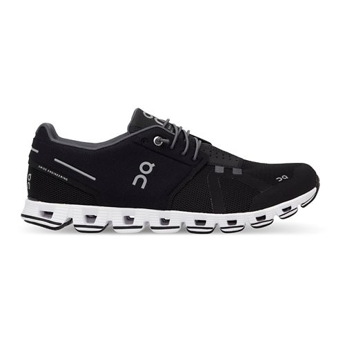 Mens On Cloud Running Shoe - Black/White 12.5