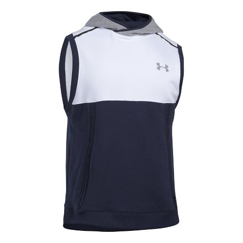 Mens Under Armour Threadborne Pull Over Sleeveless & Tank Tops Technical Tops - White/Reflective M