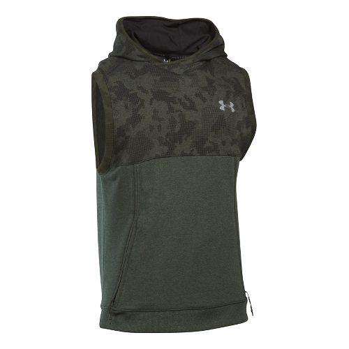 Mens Under Armour Threadborne Pull Over Sleeveless & Tank Tops Technical Tops - Green/Reflective XL