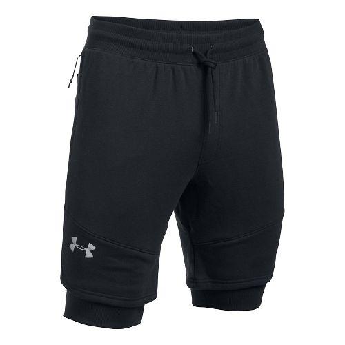 Mens Under Armour Threadborne Novelty Lined Shorts - Black/Reflective S