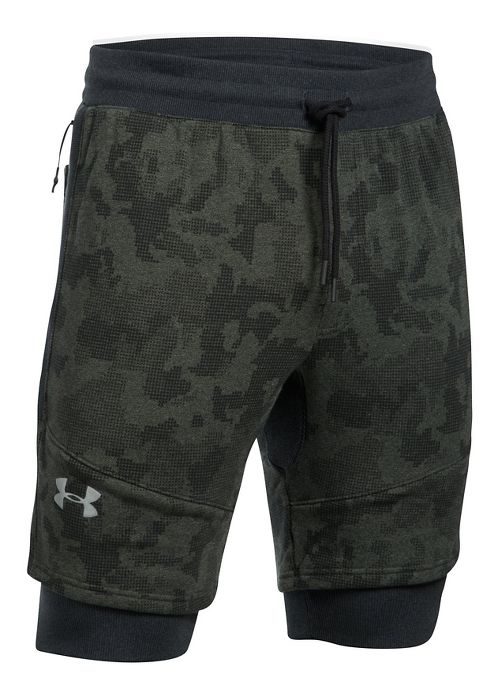 Mens Under Armour Threadborne Novelty Lined Shorts - Green/Reflective M