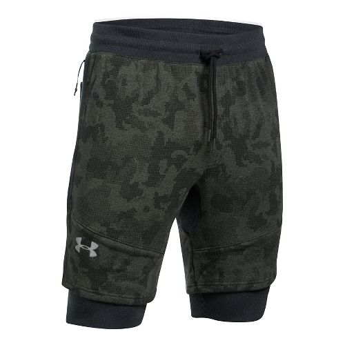 Mens Under Armour Threadborne Novelty Lined Shorts - Green/Reflective L