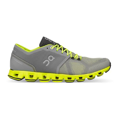 Mens On Cloud X Running Shoe - Grey/Neon 9