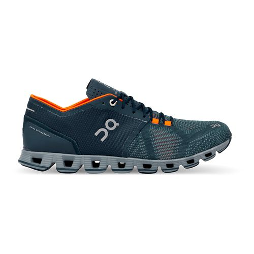 Mens On Cloud X Running Shoe - Storm/Orange 10