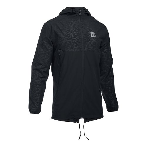 Mens Under Armour Sportstyle Fish Tail Casual Jackets - Black/Black XL-T