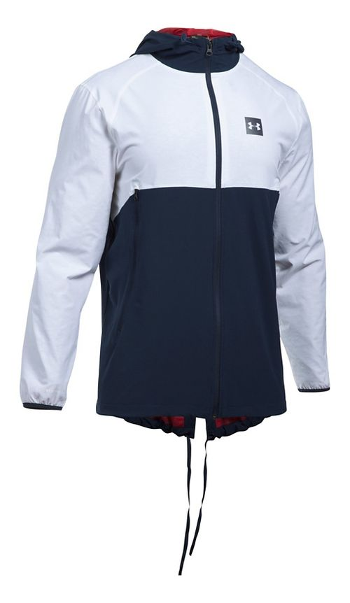 Mens Under Armour Sportstyle Fish Tail Casual Jackets - White/Midnight Navy XL
