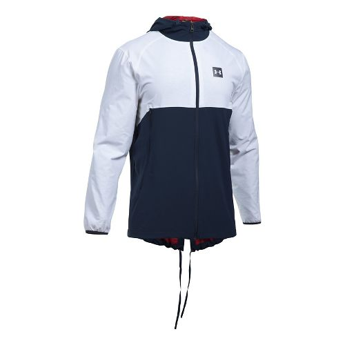Mens Under Armour Sportstyle Fish Tail Casual Jackets - White/Midnight Navy XXL
