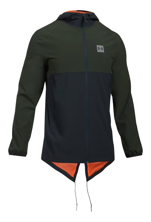 Mens Under Armour Sportstyle Fish Tail Casual Jackets - Green/Black XXL