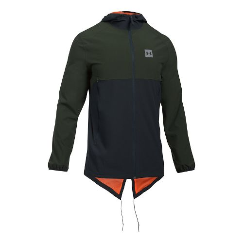 Mens Under Armour Sportstyle Fish Tail Casual Jackets - Green/Black XL-T