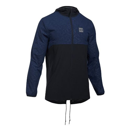Mens Under Armour Sportstyle Fish Tail Casual Jackets - Black/Black L