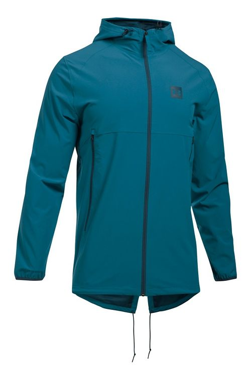 Mens Under Armour Sportstyle Fish Tail Casual Jackets - Bayou Blue/True Ink 3XL