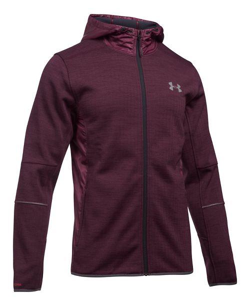 Mens Under Armour Swacket Novelty Full-Zip Running Jackets - Raisin Red S