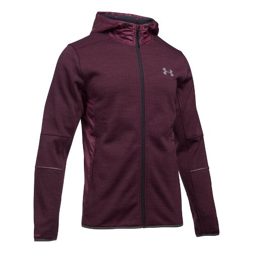 Mens Under Armour Swacket Novelty Full-Zip Running Jackets - Raisin Red L