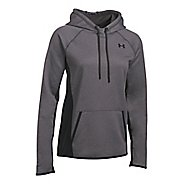 Womens Under Armour Fleece Solid Half-Zips & Hoodies Technical Tops - Carbon Heather L