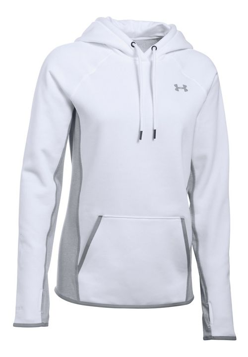 Womens Under Armour Fleece Solid Half-Zips & Hoodies Technical Tops - White L