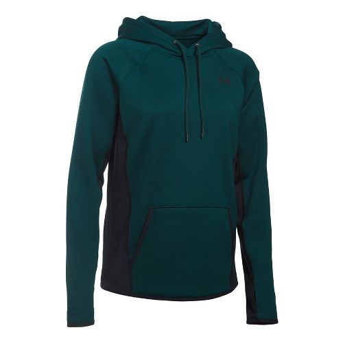 Womens Under Armour Fleece Solid Half-Zips & Hoodies Technical Tops - Arden Green XS