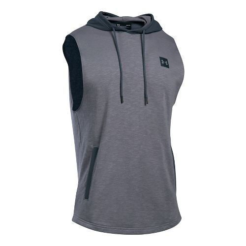 Mens Under Armour Sportstyle Hoodie Sleeveless & Tank Tops Technical Tops - True Grey Heather M