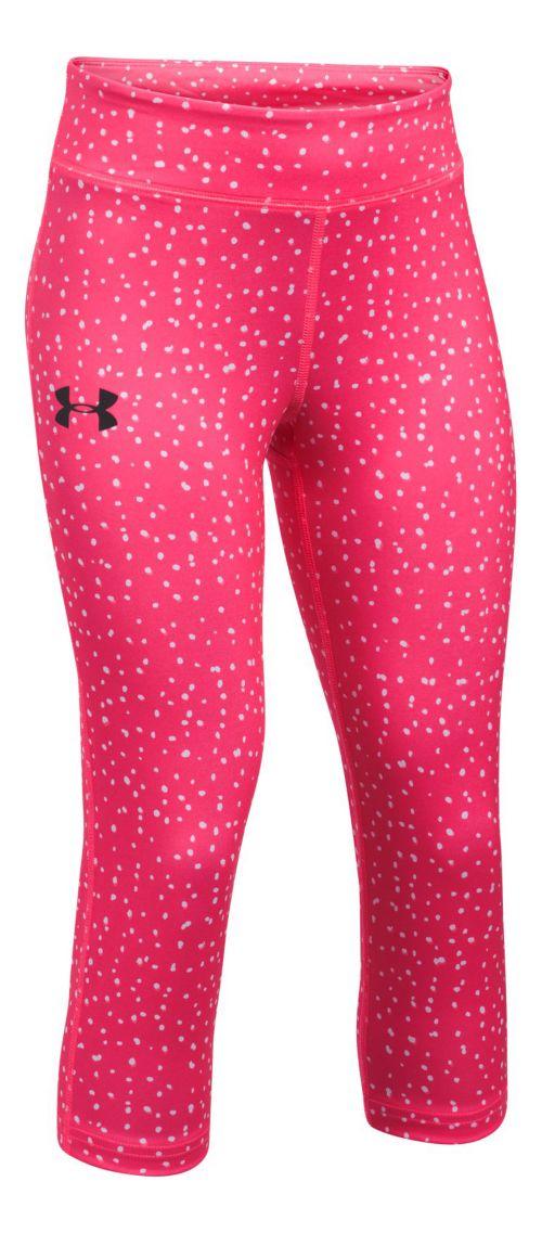 Under Armour Girls HeatGear Printed Capris Tights - Penta Pink YM