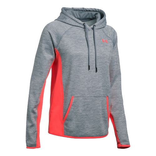 Womens Under Armour Fleece Twist Half-Zips & Hoodies Technical Tops - Steel L