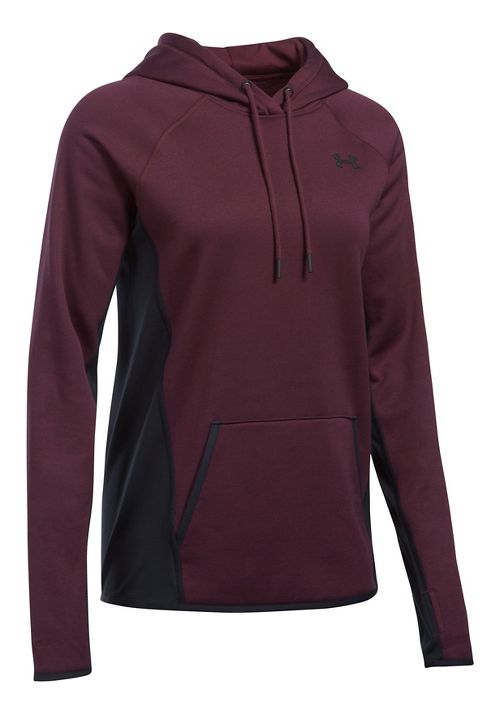 Womens Under Armour Fleece Hoodie-Cross  Technical Tops - Raisin Red XL