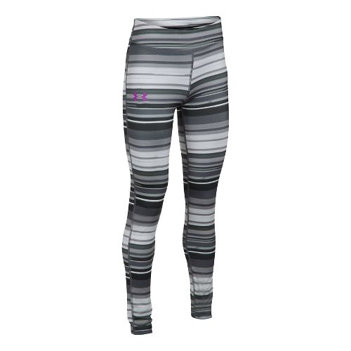 Under Armour Girls HeatGear Printed Legging  Tights - Overcast Grey YM