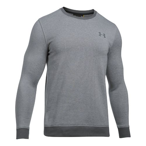 Mens Under Armour Rival Fitted EOE Crew Long Sleeve Technical Tops - Graphite L