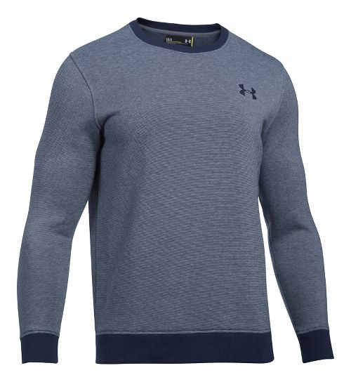Mens Under Armour Rival Fitted EOE Crew Long Sleeve Technical Tops - Midnight Navy M