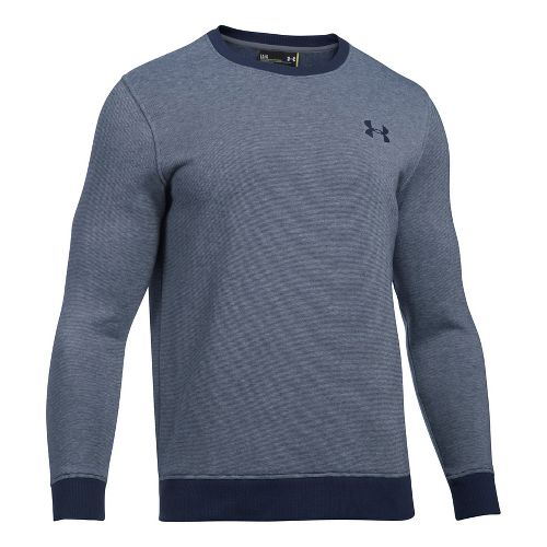 Mens Under Armour Rival Fitted EOE Crew Long Sleeve Technical Tops - Midnight Navy XL