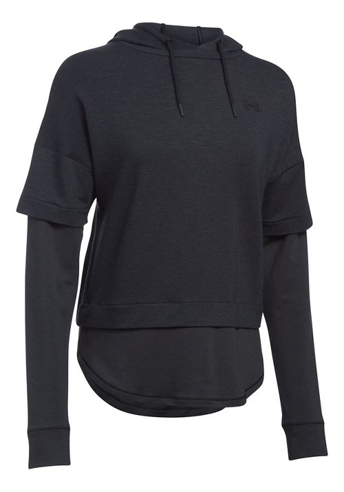 Womens Under Armour Featherweight Fleece 2-in-1 Half-Zips & Hoodies Technical Tops - Black L