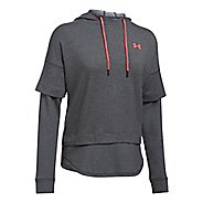 Womens Under Armour Featherweight Fleece 2-in-1 Half-Zips & Hoodies Technical Tops - Carbon ...