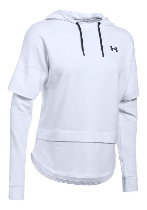 Womens Under Armour Featherweight Fleece 2-in-1 Half-Zips & Hoodies Technical Tops - White L