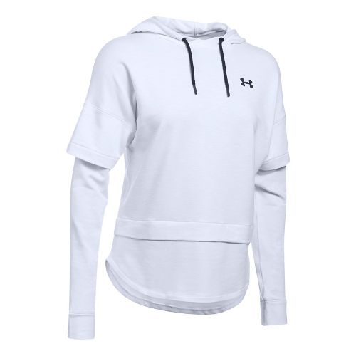 Womens Under Armour Featherweight Fleece 2-in-1 Half-Zips & Hoodies Technical Tops - White M