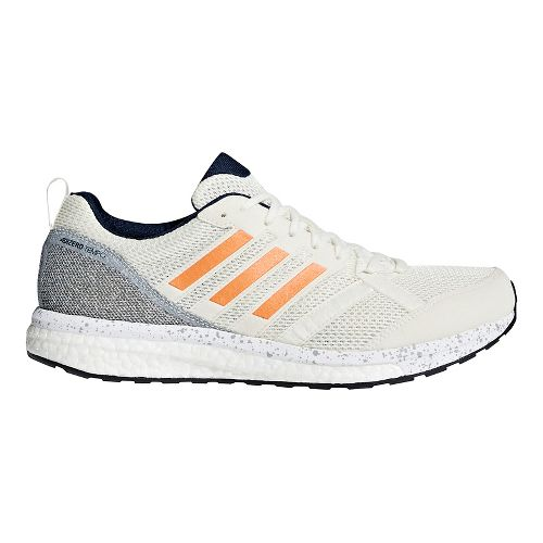 Mens adidas adizero Tempo 9 Running Shoe - Off White/Orange 10.5