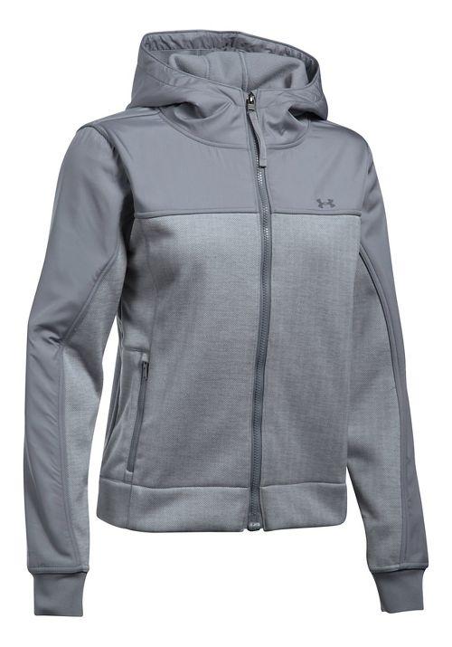 Womens Under Armour Herringbone Swacket Cold Weather Jackets - True Grey Heather XS
