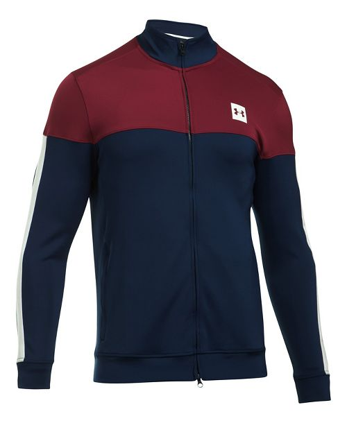 Mens Under Armour Sportstyle Track Casual Jackets - Academy/Cardinal XXL