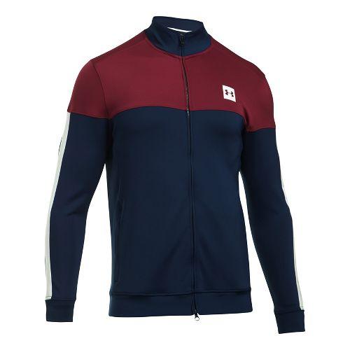 Mens Under Armour Sportstyle Track Casual Jackets - Academy/Cardinal XL
