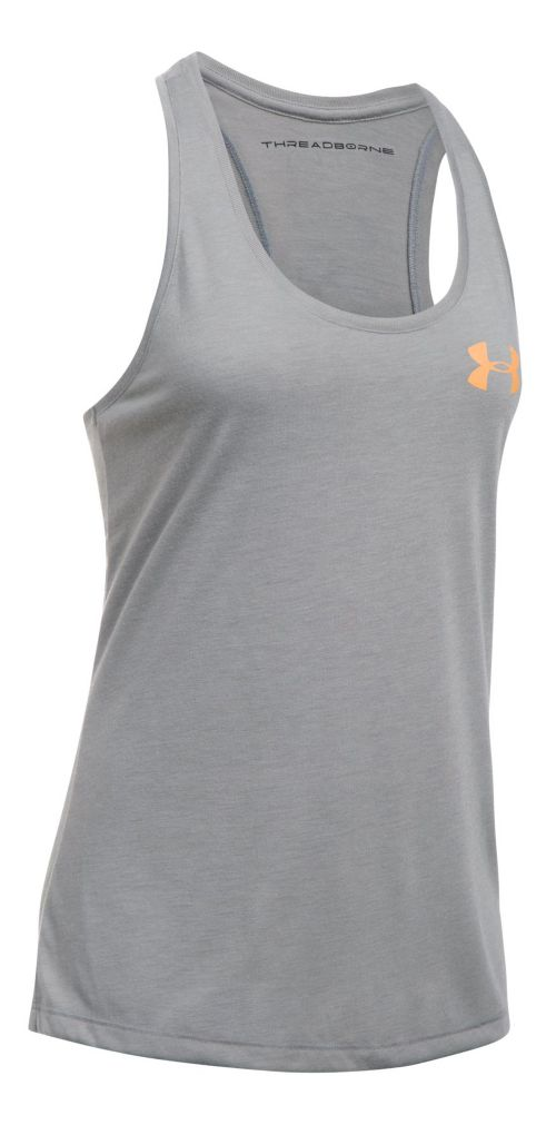 Womens Under Armour Threadborne Graphic Sleeveless & Tank Tops Technical Tops - True Grey ...