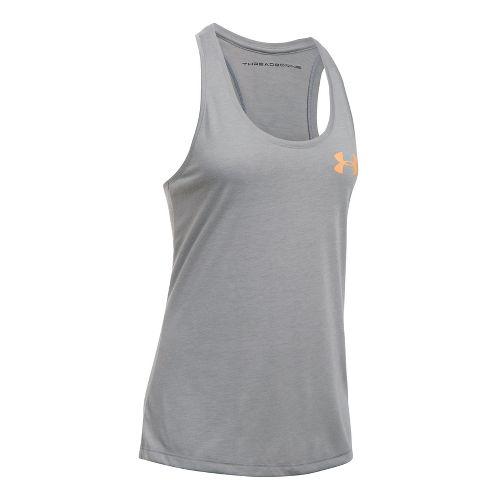 Womens Under Armour Threadborne Graphic Sleeveless & Tank Tops Technical Tops - True Grey ...