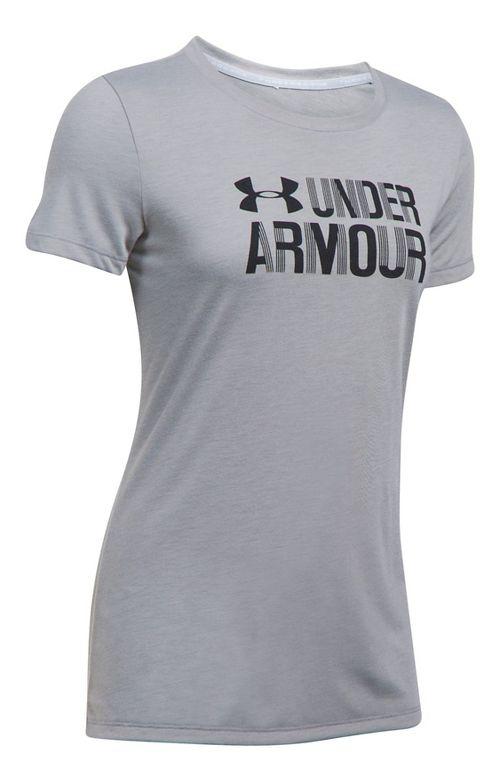 Womens Under Armour Threadborne Crew Neck-Graphic Short Sleeve Technical Tops - True Grey ...