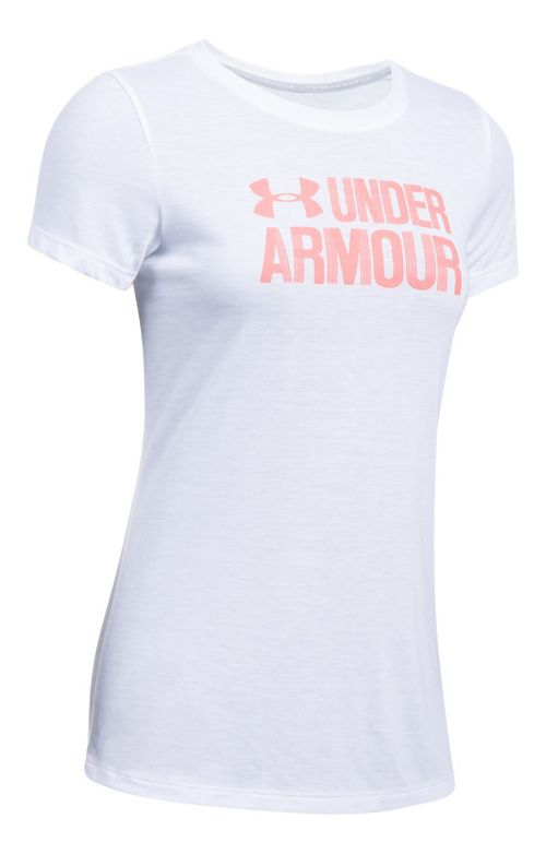 Womens Under Armour Threadborne Crew Neck-Graphic Short Sleeve Technical Tops - White XS