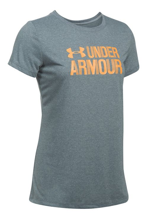 Womens Under Armour Threadborne Crew Neck-Mevo Short Sleeve Technical Tops - Rhino Grey S