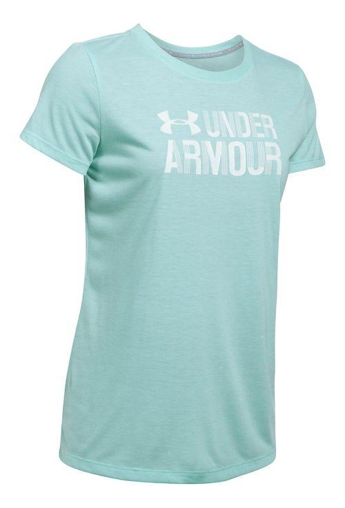 Womens Under Armour Threadborne Crew Neck-Mevo Short Sleeve Technical Tops - Blue Infinity XS