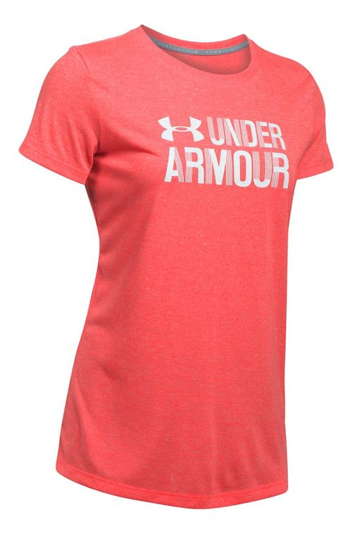 Womens Under Armour Threadborne Crew Neck-Mevo Short Sleeve Technical Tops - Marathon Red XL
