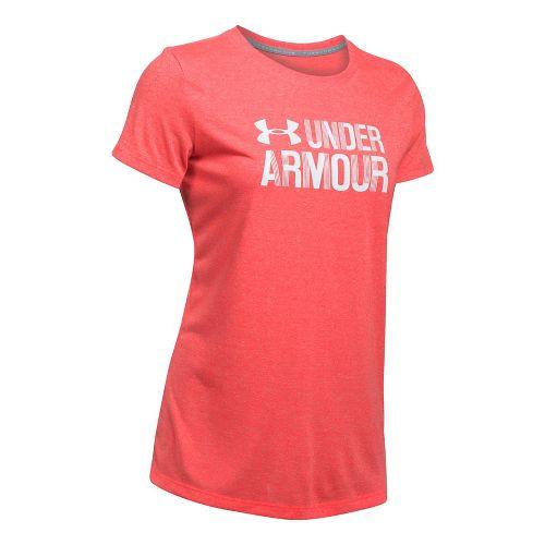 Womens Under Armour Threadborne Crew Neck-Mevo Short Sleeve Technical Tops - Marathon Red L