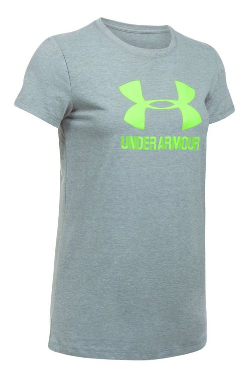 Womens Under Armour Sportstyle Crew Short Sleeve Technical Tops - True Grey S