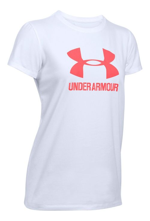 Womens Under Armour Sportstyle Crew Short Sleeve Technical Tops - White XL