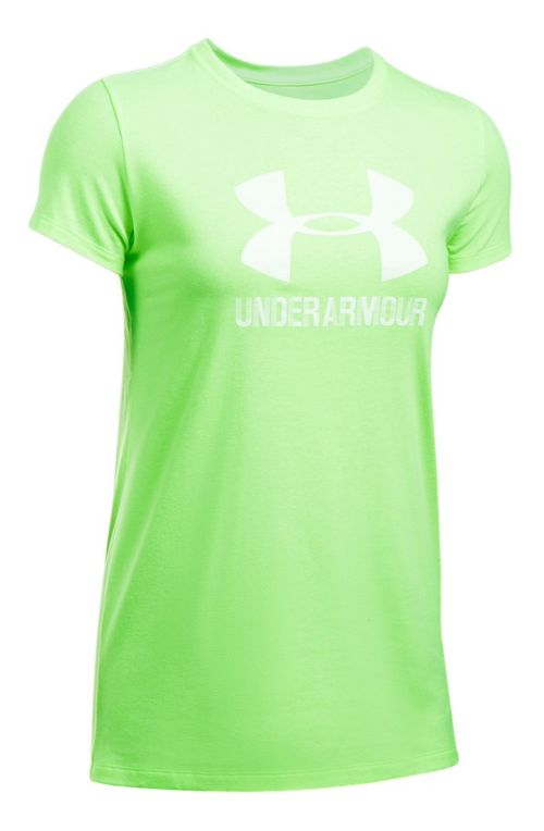 Womens Under Armour Sportstyle Crew Short Sleeve Technical Tops - Quirky Lime L