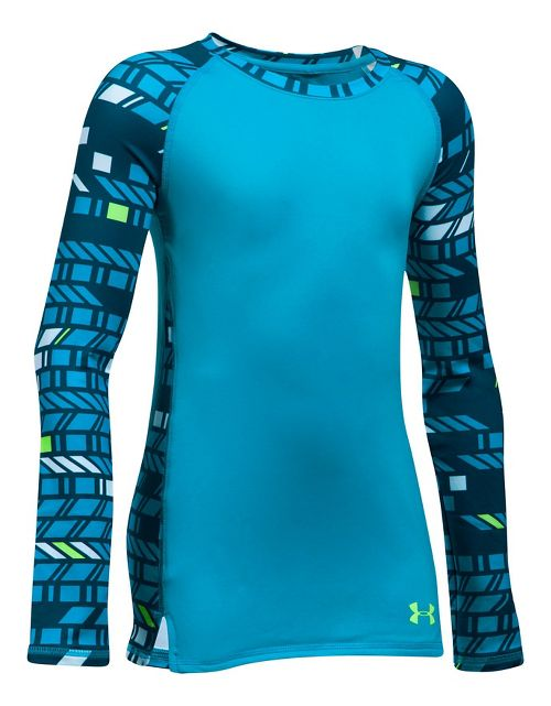 Under Armour Novelty ColdGear Crew Long Sleeve Technical Tops - Blue Shift YM