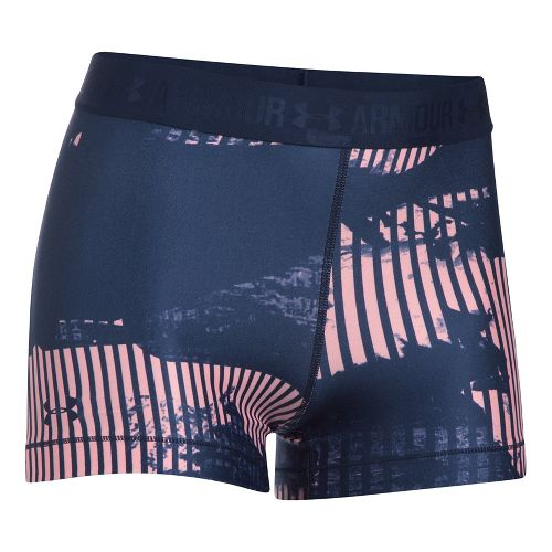 Womens Under Armour HeatGear Printed Shorty Compression & Fitted Shorts - Midnight Navy/Pink L